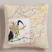 Seabird with Map Embroidered Throw Pillow